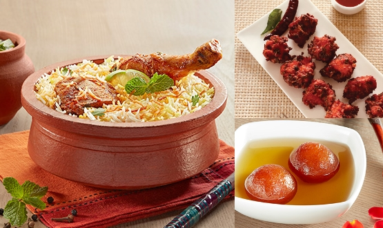 Claypot Hyderabadi Chicken Biryani + Chicken 65 + Gulab Jamun 2Pc(2 People)