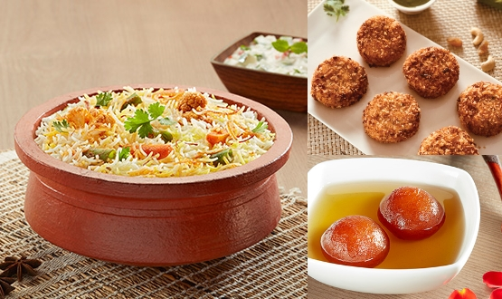 Claypot Hyderabadi Mix Veg Biryani + Dahi Ke Kebab 6Pc + Gulab Jamun 2Pc (2 People)