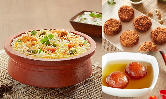 Claypot Lucknowi Mix Veg Biryani + Dahi Ke Kebab 6Pc + Gulab Jamun 2Pc (2 People)
