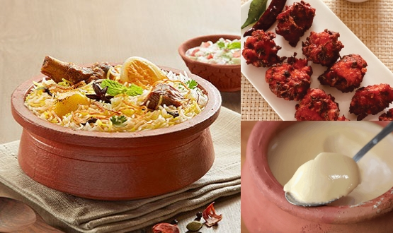 Claypot Kolkata Mutton Biryani + Chicken 65 + Mishti Doi( 2 People)